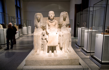 BERLIN, GERMANY - APRIL 7: Family group Ptahmai in egyptian museum on April 7, 2017 in Berlin