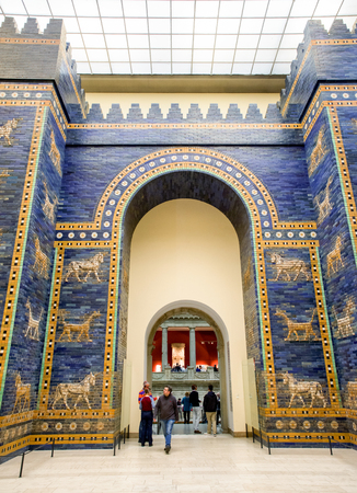BERLIN, GERMANY - APRIL 7: Ishtar gate from Babylon in Pergamon museum on April 7, 2017 in Berlin