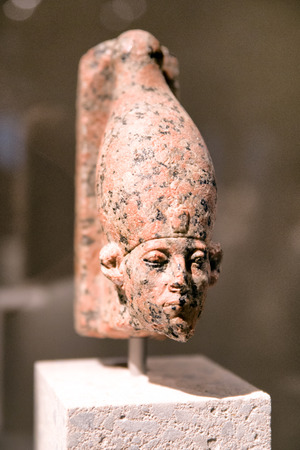 BERLIN, GERMANY - APRIL 7: Head of a statue of Sesostris III in Egyptian museum on April 7, 2017 in Berlin