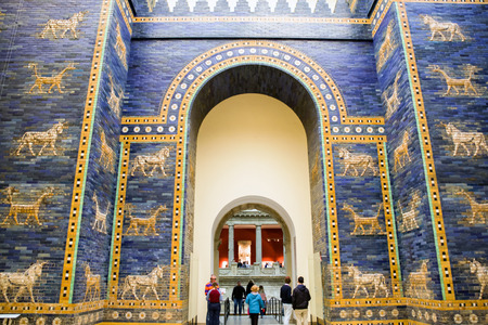 ishtar: BERLIN, GERMANY - APRIL 7: Ishtar gate from Babylon in Pergamon museum on April 7, 2017 in Berlin