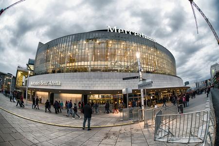 BERLIN, GERMANY - APRIL 8: Exterior of Mercedens-Benz Arena on April 8, 2017 in Berlin