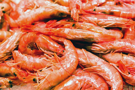 Fresh sea food- red scampi in marketplace La Boqueria, Barcelona