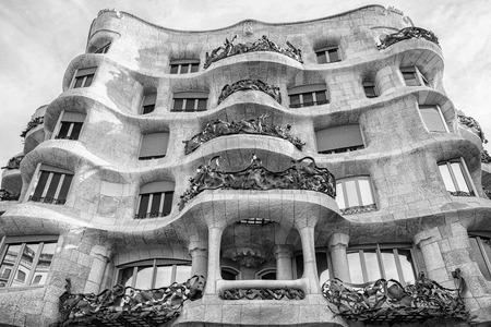 Modernist house Casa Mila called La Pedrera designed by Antoni Gaudi in Barcelona, Spain