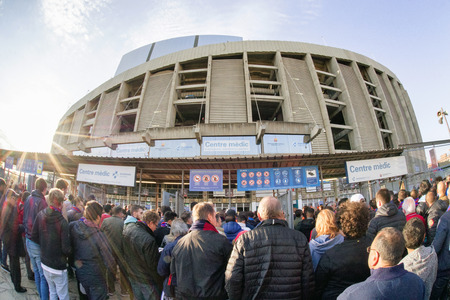 nad: BARCELONA, SPAIN - APRIL 19:  People in front of stadium on  April 19, 2017 in Barcelona Editorial