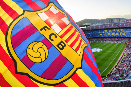 BARCELONA, SPAIN - APRIL 19:  Flag of FC Barcelona at stadium  Nou Camp on April 19, 2017 in Barcelona