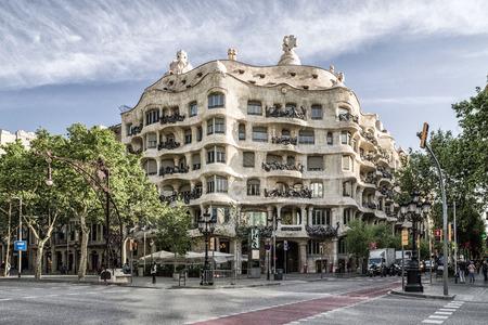 BARCELONA, SPAIN - APRIL 20:  Modernist house Case Mila also known as La Pedrera designed by  Antoni Gaudi  on April 20, 2017 in Barcelona