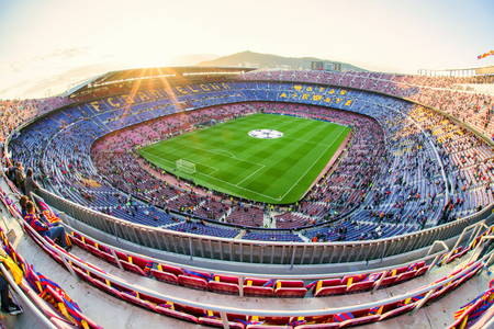 BARCELONA, SPANJE - APRIL 19: Voetbalstadion Nou Camp op 19 April, 2017 in Barcelona Redactioneel