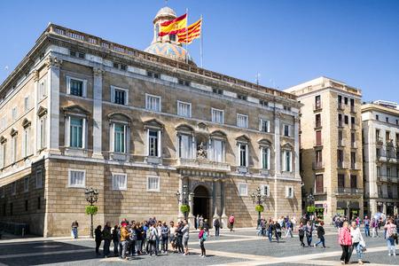 BARCELONA, SPAIN - APRIL 20:  Palace Palau de la Generalitat de Catalunya on  April 20, 2017 in Barcelona Editorial