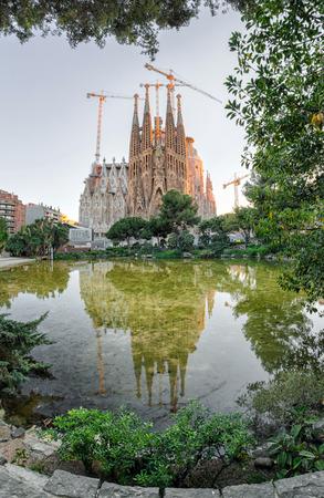 Basilica Sagrada familia in Barcelona, Spain Editorial