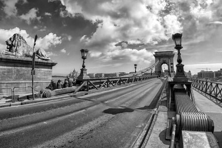 building a chain: BUDAPEST, HUNGARY - MAY 6: Chain bridge over river Danubeon May 6, 2017 in Budapest