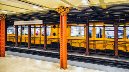 BUDAPEST, HUNGARY - MAY 5: Yellow old train in subway Opera station in Budapest on May 5, 2017