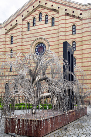 BUDAPEST, HUNGARY - MAY 7:  Weeping willow memorial in Great synagogue on May 7, 2017 in Budapest