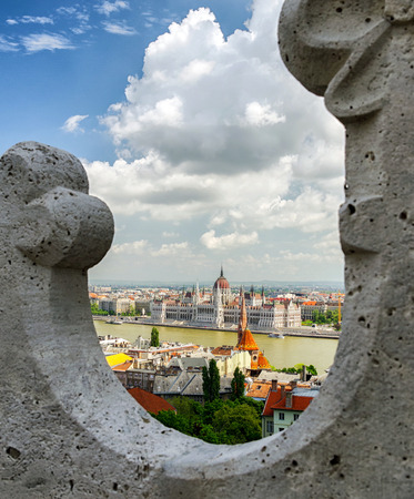 fisherman bastion: Hungarian parliament building and river Danube from Fishermans bastion in Budapest Stock Photo