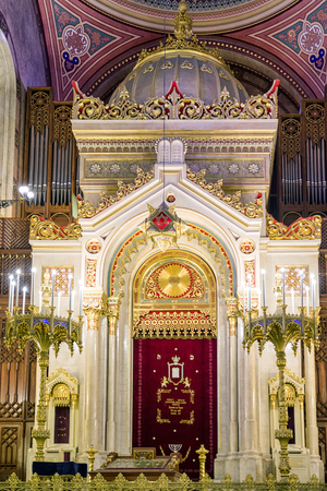 hungarian: BUDAPEST, HUNGARY - MAY 7:  Altar in Great jewish synagogue - biggest in europe on May 7, 2017 in Budapest