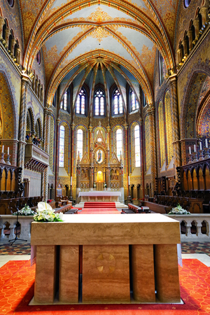 BUDAPEST, HUNGARY - MAY 6: Interior of Matthias Church located in castle hill on May 6, 2017 in Budapest