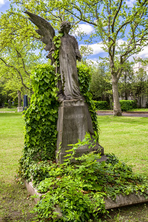 BUDAPEST, HUNGARY - MAY 8:  Angel with one wing at Kerepesi - historic cemetery on May 8, 2017 in Budapest