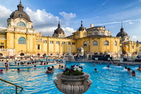 BUDAPEST, HUNGARY - MAY 6:  Swimming pool in Szechenyi thermal bath on May 6, 2017 in Budapest