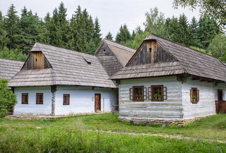 Wooden cottage in open-air museum of Slovak village, Martin - Slovakia