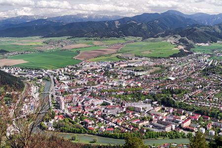 ruzomberok: Small town Ruzomberok and river Vah from hill Cebrat in Slovakia Editorial