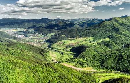 ruzomberok: Beautiful view from hill Hrdos (Ostre). Great Fatra mountains landscape. Town Ruzomberok at backround Editorial