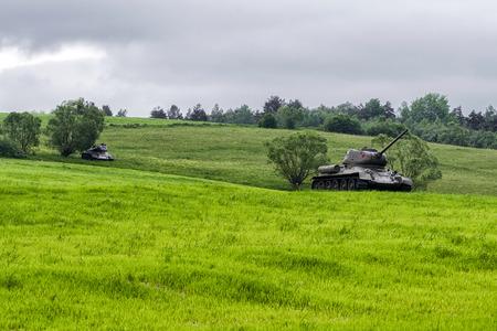 Russian tanks T-34 in Valley of death - Dukla paas from World War II in Svidnik, Slovakia