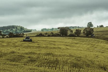 Soviet tanks T-34 in Valley of death - Dukla paas from World War II in Svidnik, Slovakia