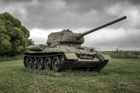 Soviet tank T-34 in Valley of death - Dukla paas from World War II in Svidnik, Slovakia
