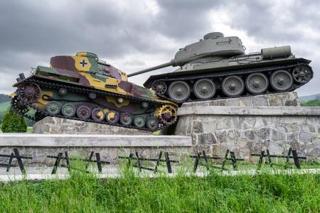 SVIDNIK, SLOVAKIA - MAY 14: World war II famous Tank monument in Valley of death - Dukla pass on  May 14, 2017 in Svidnik
