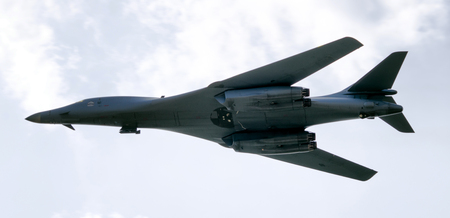 b: SLIAC, SLOVAKIA - AUGUST 27: Bomber B-1 Bone Lancer at airshow SIAF 2017 on August 27, 2017 in Sliac Editorial