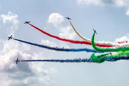 SLIAC, SLOVAKIA - AUGUST 27: Aerobatic display team Al Fursan at airshow SIAF 2017 on August 27, 2017 in Sliac Editorial