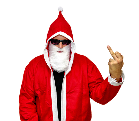 Santa Claus with middle finger up