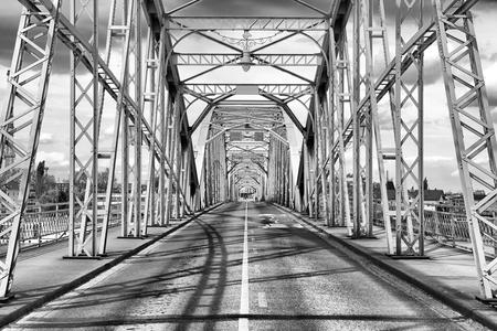 Elizabeth bridge connected Slovak city Komarno and Hungaria town Komarom