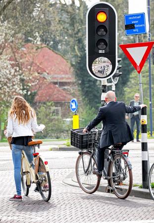HERTOGENBOSCH, NETHERLANDS - APRIL 1: Traffic lights for bicycles at city  's-Hertogenbosch on April 1, 2014 in Hertogenbosch Editorial
