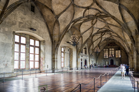 PRAGUE, CZECH REPUBLIC - JULY 2: Large Vladislav hall in Old Royal palace on July 2, 2017 in Prague