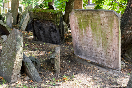 PRAGUE, CZECH REPUBLIC - JULY 2: Grave stones at old jewish cemetery on July 2, 2017 in Prague Фото со стока - 111246626