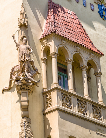 PRAGUE, CZECH REPUBLIC - JULY 2: Sculpture of St George and dragon on the facade of house on July 2, 2017 in Prague
