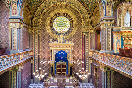 PRAGUE, CZECH REPUBLIC - JULY 2: Interior of spanish synagogue on July 2, 2017 in Prague