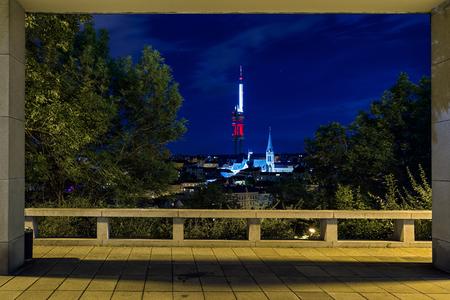 PRAGUE, CZECH REPUBLIC - JULY 3: Zizkov television tower on July 3, 2017 in Prague