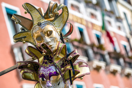 VENICE, ITALY - FEBRUARY 11: Mask of clown  during The carnival of Venice on February 11, 2018 in Venice