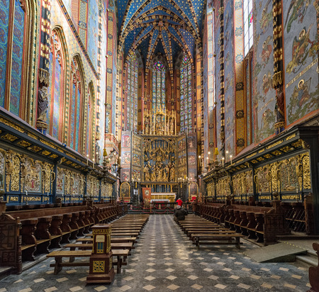 KRAKOW, POLAND - FEBRUARY 19: Interior of  St. Mary's Basilica on February 19, 2018 in Krakow