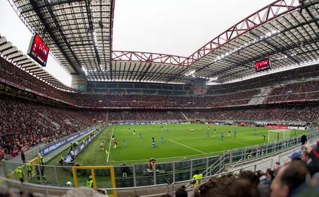 MILAN, ITALY - APRIL 15: Stadium San Siro full of fans football club AC Milan on April 15, 2018 in Milan Editorial