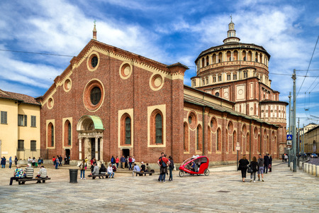 MiLAN, ITALY - APRIL 14: Church Santa Maria delle Grazie on April 14, 2018 in Milan