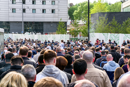 LONDON, UNITED KINGDOM - MAY 13: Crowd in front of football stadium Wembley on May 13, 2018 in London