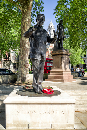LONDON, UNITED KINGDOM - MAY 14: Statue of Nelson Mandela on May 14, 2018 in London