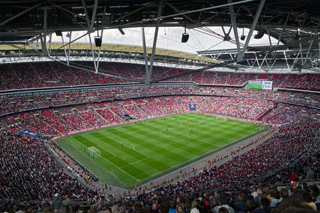 LONDON, UNITED KINGDOM - MAY 13: Football match Tottenham Hotspurs vs. Leicester city F.C. in stadium Wembley on May 13, 2018 in London