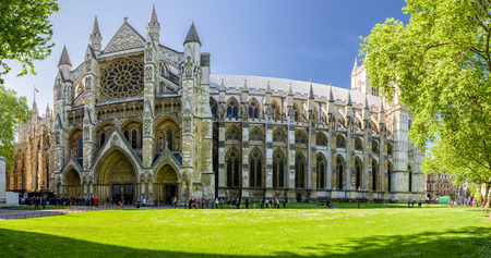 LONDON, UNITED KINGDOM - MAY 14: Gothic church Westminster Abbey on May 14, 2018 in London Sajtókép