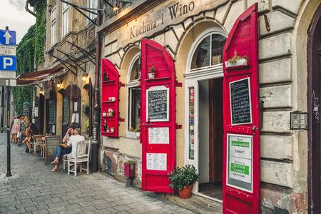 KRAKOW, POLAND - AUGUST 18: The old Jewish quarter called Kazimierz on August, 18, 2018 in Krakow