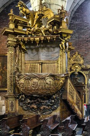 KRAKOW, POLAND - AUGUST 18:  Golden pulpit on Corpus Basilica on August, 18, 2018 in Krakow