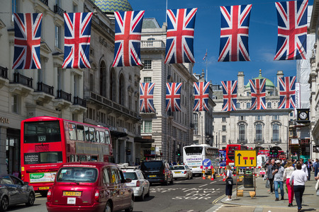 LONDON, UNITED KINGDOM - MAY 14: Red double decker at Regent street in centre of cityon May 14, 2018 in London