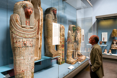 LONDON, UNITED KINGDOM - MAY 15: Egyptian collection in British museum on May 15, 2018 in London Stok Fotoğraf - 111250079